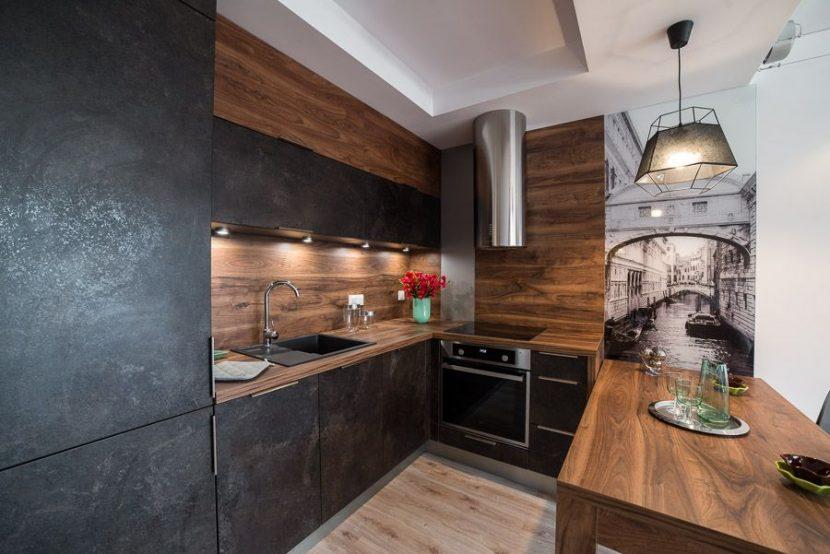 wnętrze mieszkania - aranżacja kuchni w ciemnych kolorach